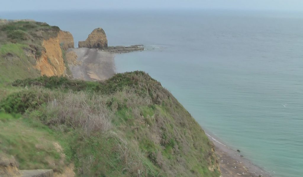 Pointe du Hoc; Looking down to landing site